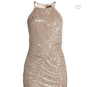 Parker Black gold sequin cocktail dress; stretchy
